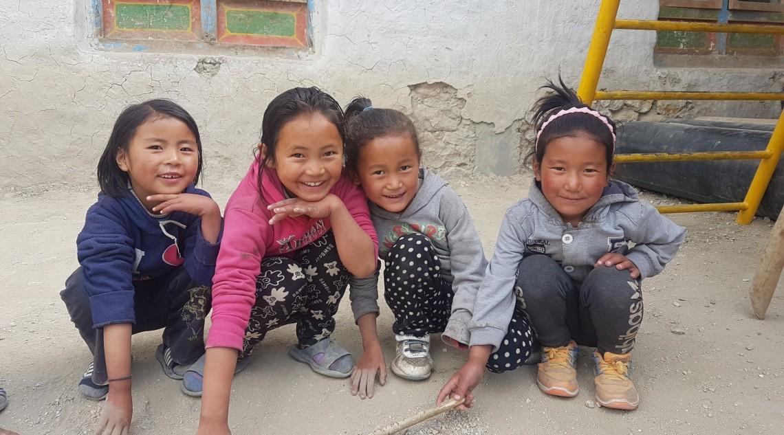 Children posing for camera