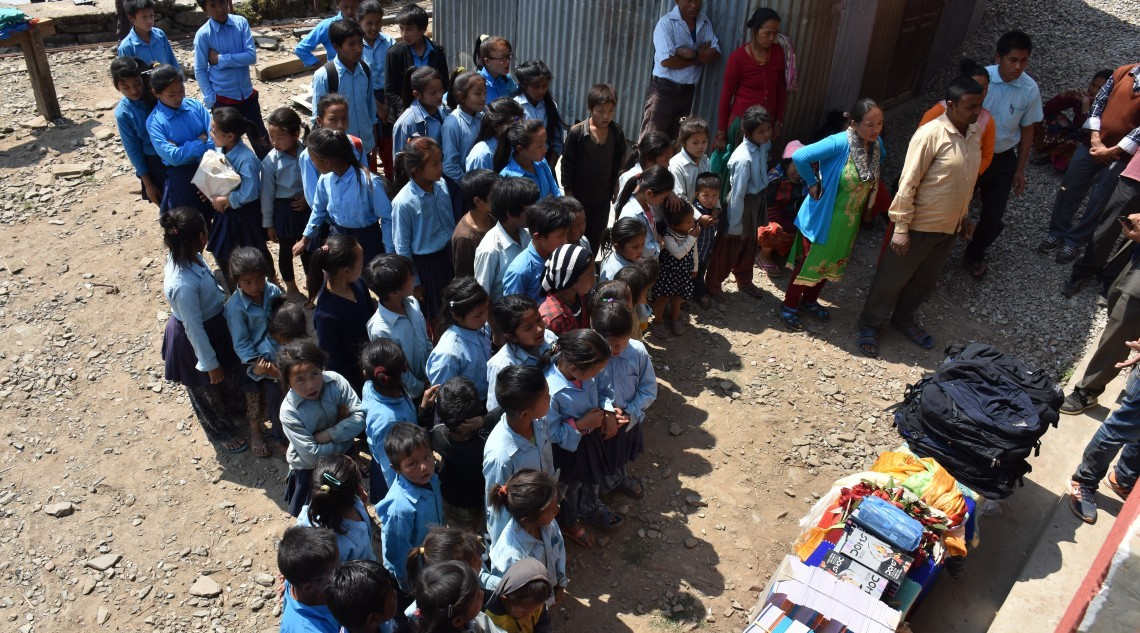 Donating educational materials for school child